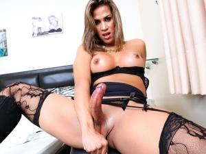 Brazilian T-Girl Masturbates And Pees!