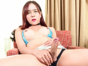 Thai Ladyboy Plam's She-Cock Erupts