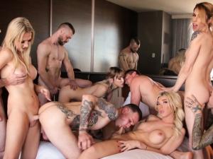 Aubrey Kate + 8: TS Orgy With DAP!